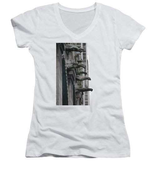 Women's V-Neck T-Shirt (Junior Cut) featuring the photograph Row Of Gargoyles by Christopher Kirby