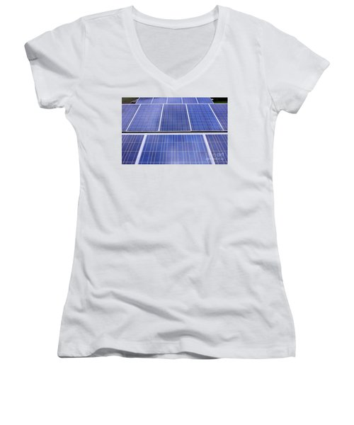 Women's V-Neck T-Shirt (Junior Cut) featuring the photograph Rows Of Solar Panels by Yali Shi