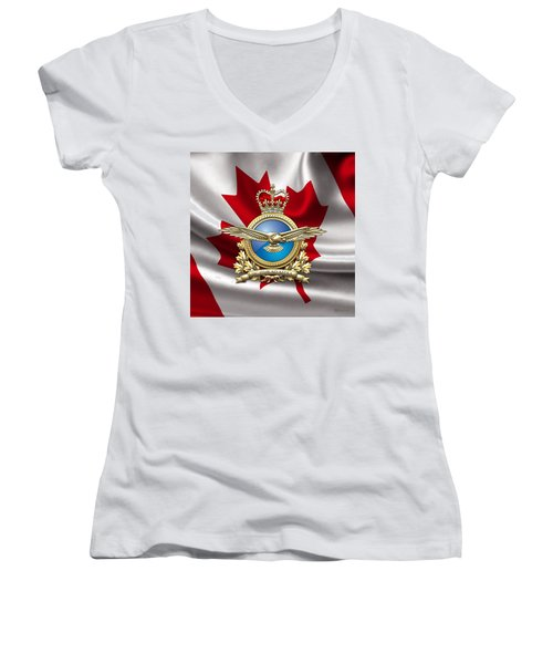 Royal Canadian Air Force Badge Over Waving Flag Women's V-Neck T-Shirt