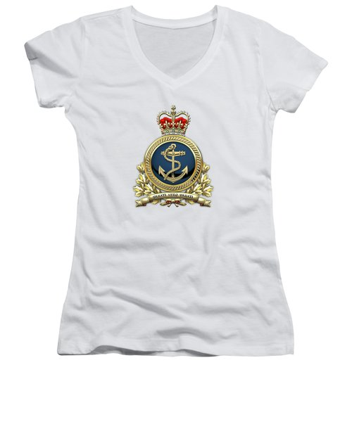 Women's V-Neck T-Shirt (Junior Cut) featuring the digital art Royal Canadian Navy  -  R C N  Badge Over White Leather by Serge Averbukh