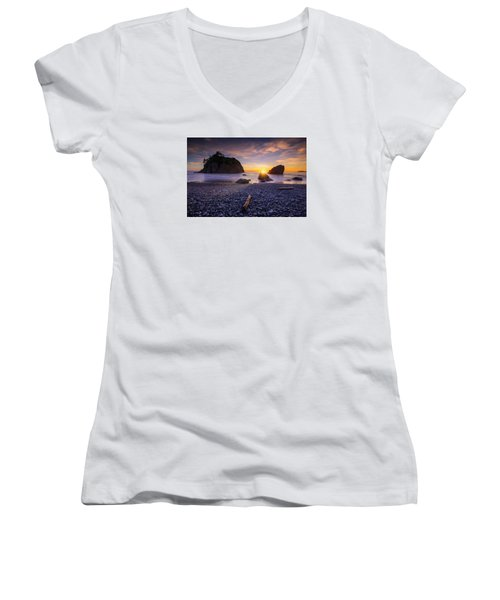 Ruby Beach Dreaming Women's V-Neck (Athletic Fit)