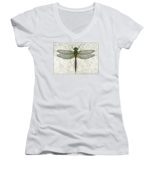 Ruby Meadowhawk Dragonfly Women's V-Neck