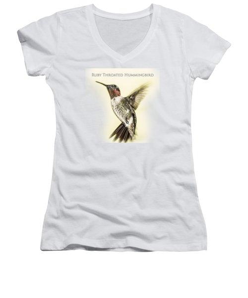 Ruby Throated Hummingbird Women's V-Neck T-Shirt