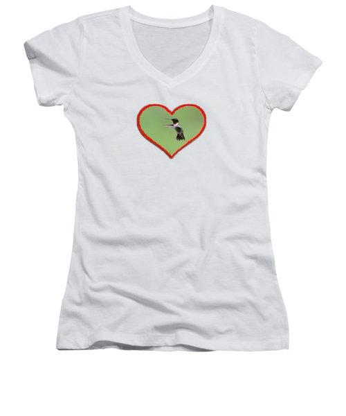 Ruby-throated Hummingbird In Heart Women's V-Neck T-Shirt (Junior Cut) by Dan Friend
