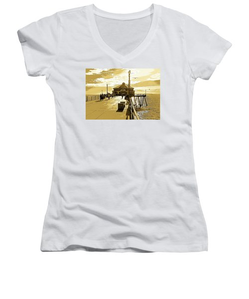 Women's V-Neck T-Shirt (Junior Cut) featuring the photograph Ruby's At The Pier by Everette McMahan jr