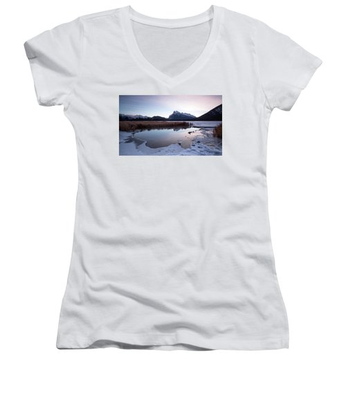 Rundle Mountain Reflections Women's V-Neck (Athletic Fit)