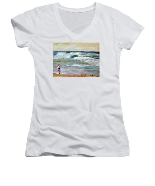 Women's V-Neck T-Shirt (Junior Cut) featuring the painting Running The Beach by Michael Helfen