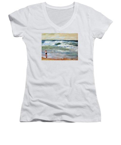 Running The Beach Women's V-Neck