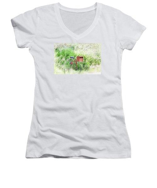 Women's V-Neck T-Shirt (Junior Cut) featuring the photograph Rural Mailbox by Jean OKeeffe Macro Abundance Art