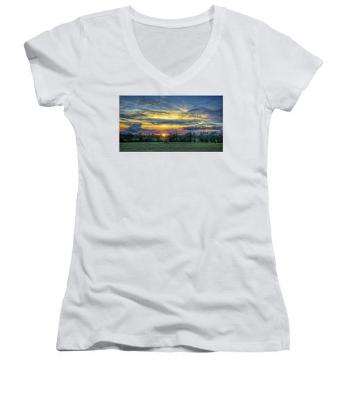 Women's V-Neck T-Shirt featuring the photograph Rural Sunset by Lewis Mann