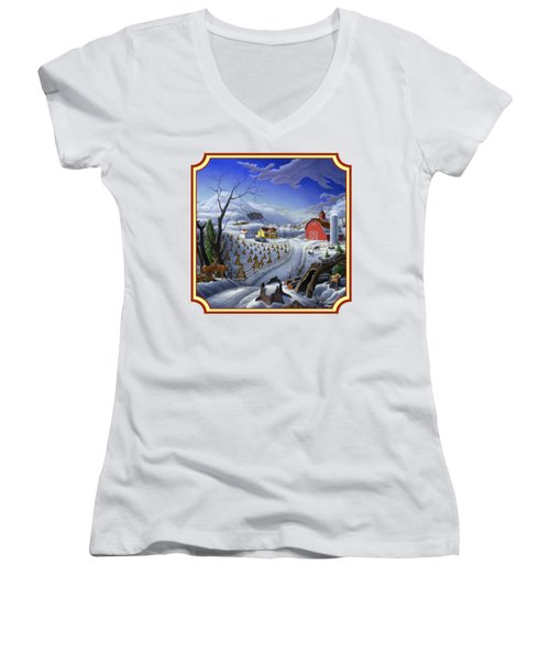 Rural Winter Country Farm Life Landscape - Square Format Women's V-Neck T-Shirt