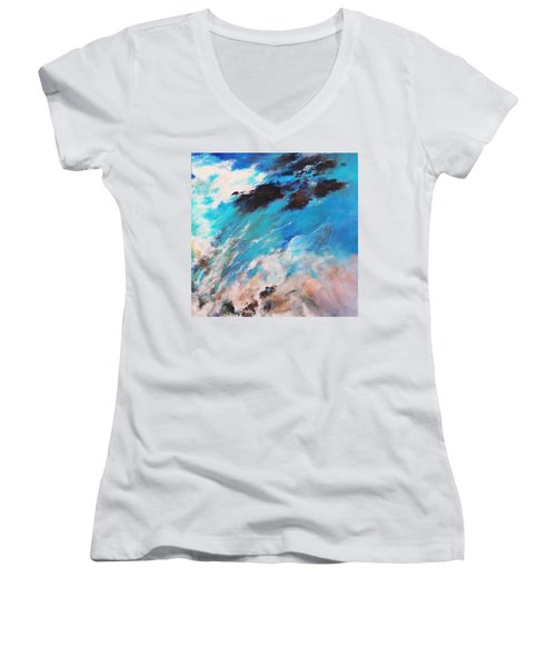 Rushing Water Women's V-Neck T-Shirt (Junior Cut) by M Diane Bonaparte