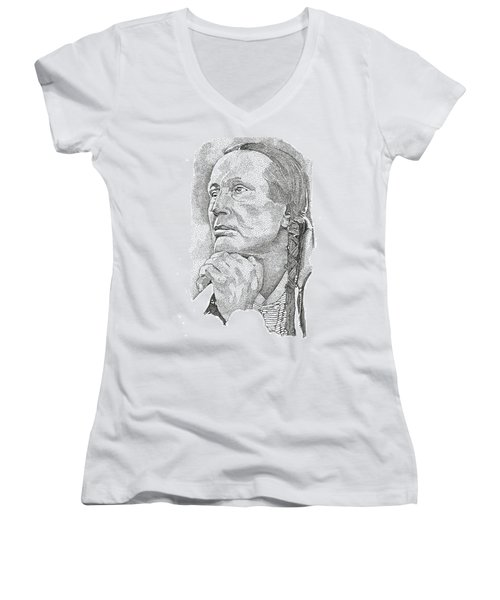 Russell Means Women's V-Neck T-Shirt