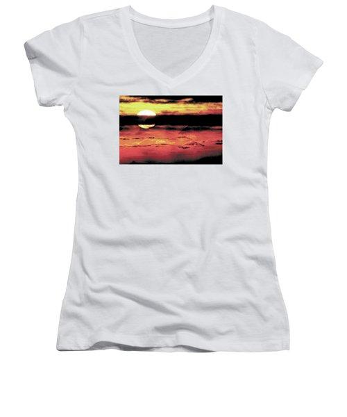 Russet Sunset Women's V-Neck T-Shirt (Junior Cut) by Paula Ayers