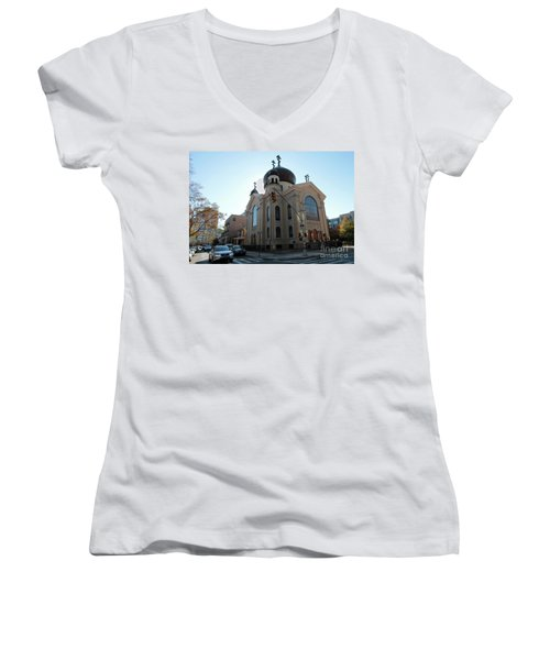 Russian Orthodox Cathedral Of The Transfiguration Of Our Lord Women's V-Neck