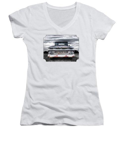 Rust And Proud - 62 Chevy Fleetside Women's V-Neck T-Shirt (Junior Cut)