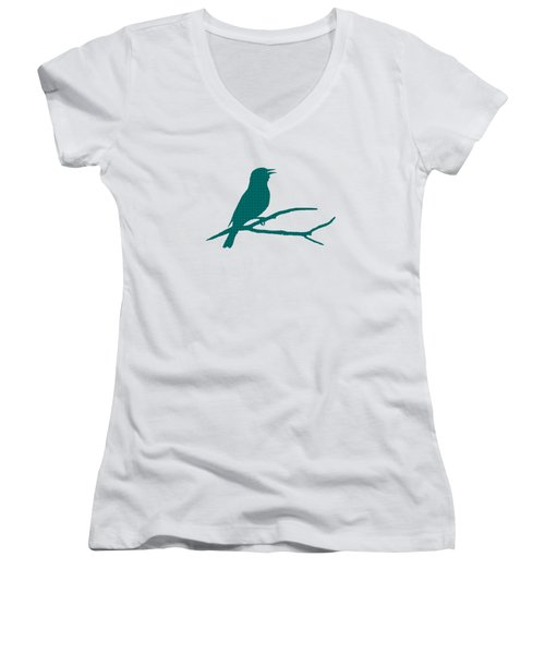 Rustic Green Bird Silhouette Women's V-Neck T-Shirt (Junior Cut) by Christina Rollo