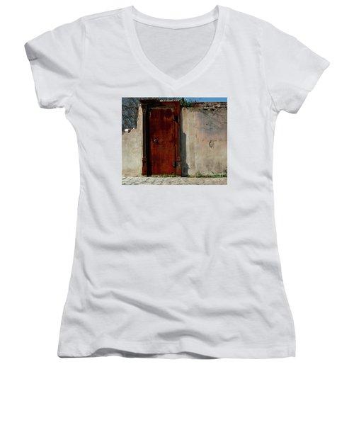 Rustic Ruin Women's V-Neck T-Shirt (Junior Cut) by Lori Mellen-Pagliaro