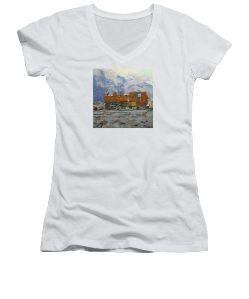Rusty Loco Women's V-Neck T-Shirt (Junior Cut) by David Gilmore