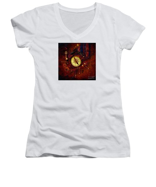 Women's V-Neck T-Shirt (Junior Cut) featuring the digital art Rusty Time Machine by Alexa Szlavics