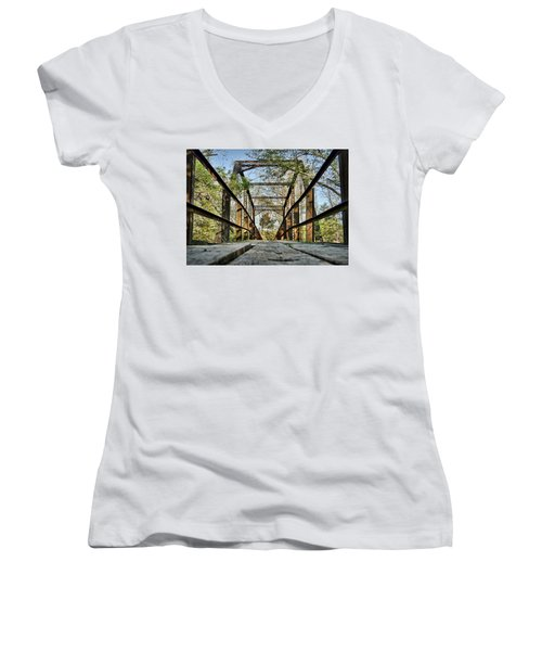 Englewood Bridge Women's V-Neck T-Shirt (Junior Cut) by Cricket Hackmann
