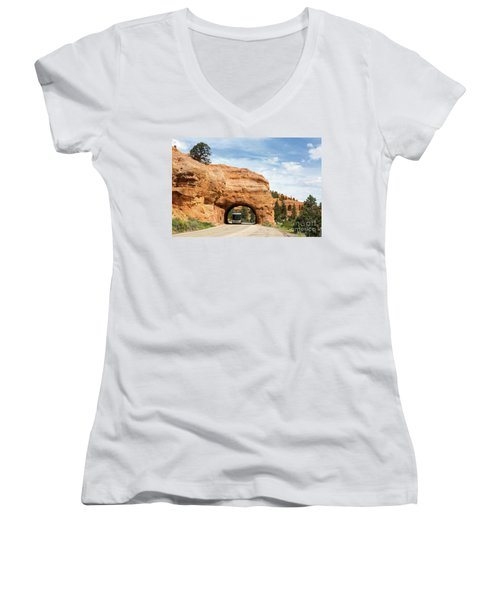 Rv Red Canyon Tunnel Utah Women's V-Neck T-Shirt
