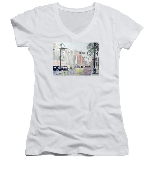 Women's V-Neck T-Shirt (Junior Cut) featuring the painting S. Main Street In Ann Arbor Michigan by Yoshiko Mishina