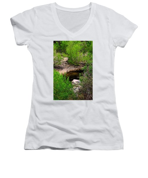 Women's V-Neck T-Shirt featuring the photograph Sabino Canyon Op44 by Mark Myhaver
