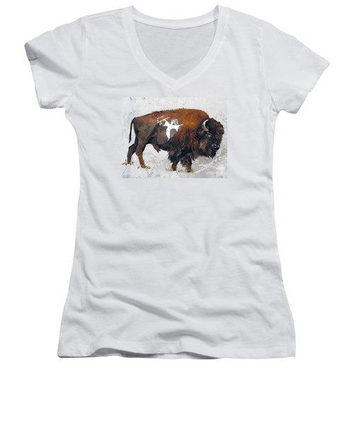 Sacred Gift Women's V-Neck T-Shirt (Junior Cut) by J W Baker