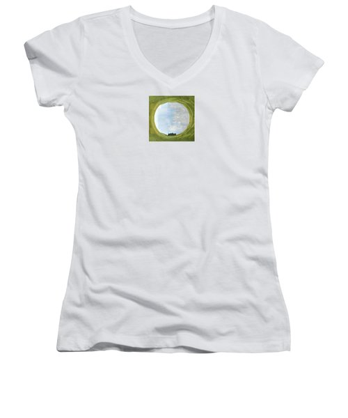 Sacred Planet - Tuscan Cypresses Women's V-Neck (Athletic Fit)