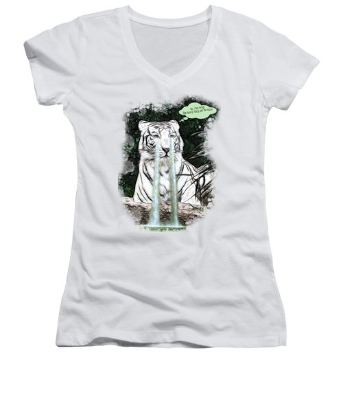Sad White Tiger Typography Women's V-Neck T-Shirt