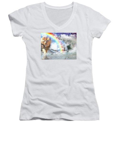 Safe Harbor  Women's V-Neck T-Shirt (Junior Cut) by Dolores Develde