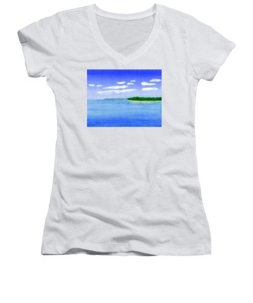 Sag Harbor, Long Island Women's V-Neck T-Shirt (Junior Cut) by Dick Sauer