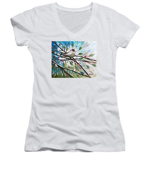 Sage Glimmering Songbird  Women's V-Neck