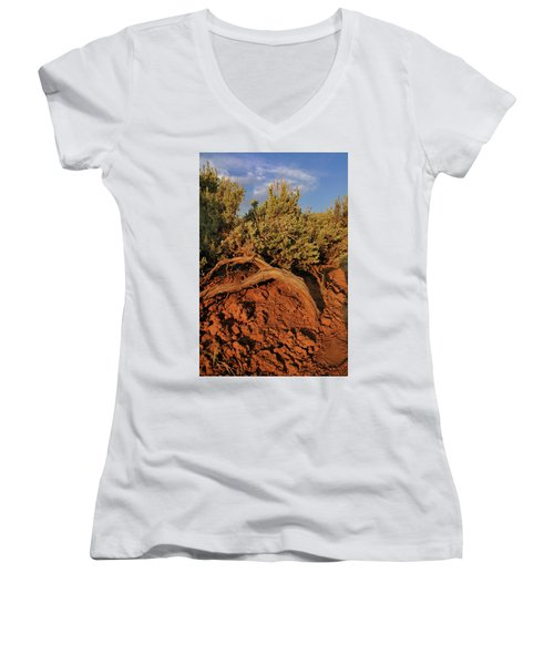 Women's V-Neck featuring the photograph Sagebrush At Sunset by Ron Cline