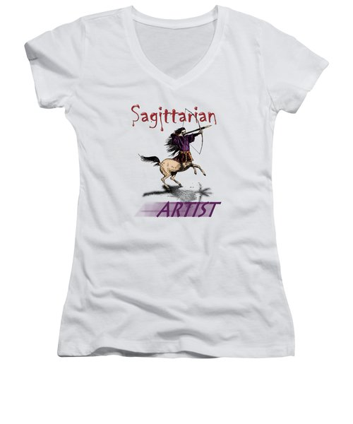 Sagittarian Artist Women's V-Neck T-Shirt (Junior Cut) by Joseph Juvenal