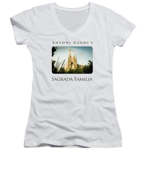 Sagrada Familia With Catalonia's Flag Women's V-Neck T-Shirt (Junior Cut)