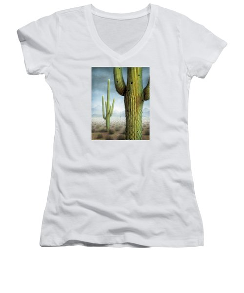 Saguaro Cactus Landscape Women's V-Neck T-Shirt (Junior Cut) by James Larkin