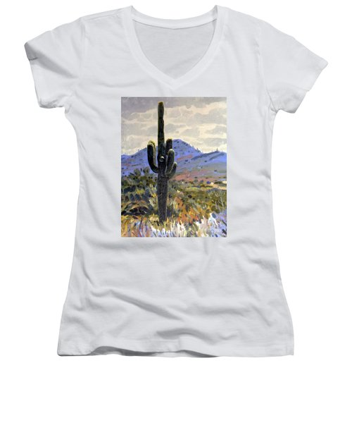 Saguaro Women's V-Neck T-Shirt (Junior Cut) by Donald Maier