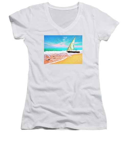Sail Boat On The Shore Women's V-Neck (Athletic Fit)