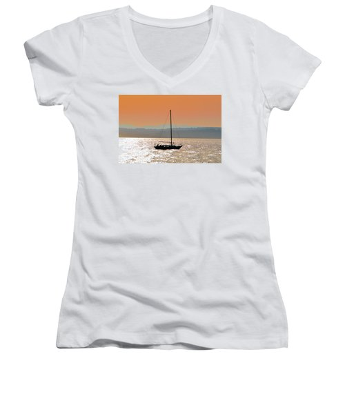 Sailboat With Bike Women's V-Neck (Athletic Fit)