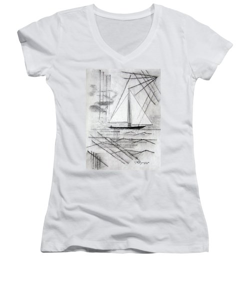 Sailing In The City Harbor Women's V-Neck T-Shirt (Junior Cut) by J R Seymour