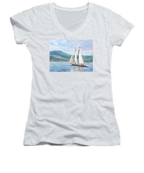 Sailing Into Castine Harbor Women's V-Neck