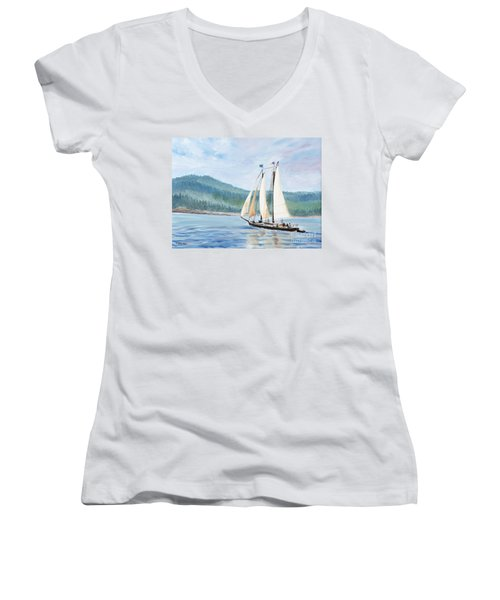 Sailing Into Castine Harbor Women's V-Neck