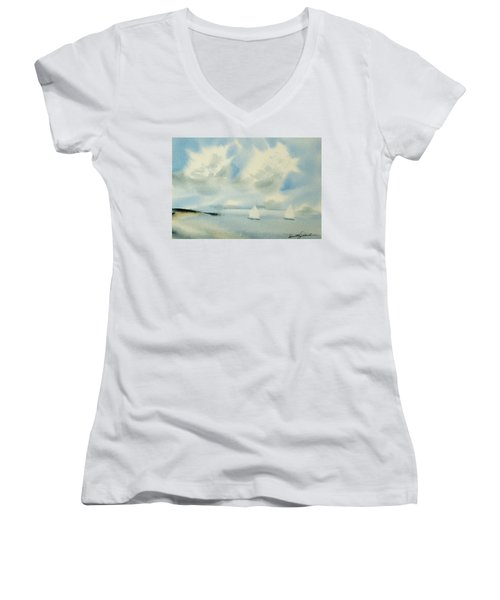 Sailing Into A Calm Anchorage Women's V-Neck