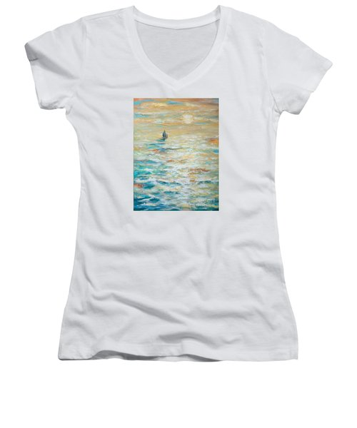 Sailing Into The Sunset Women's V-Neck T-Shirt (Junior Cut) by Linda Olsen