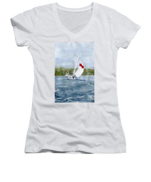 Women's V-Neck T-Shirt (Junior Cut) featuring the painting Sailing On Niagara River by Melly Terpening