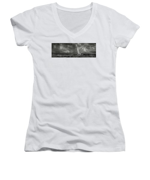 Sailing The Wine Dark Sea In Black And White Women's V-Neck