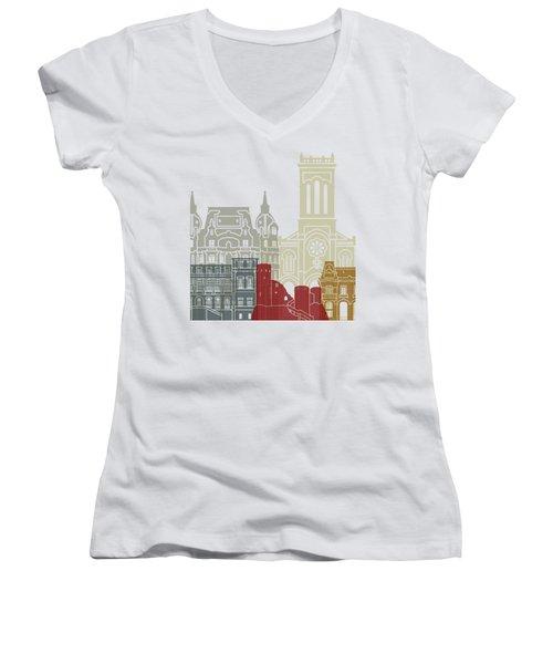 Saint Etienne Skyline Poster Women's V-Neck T-Shirt (Junior Cut) by Pablo Romero
