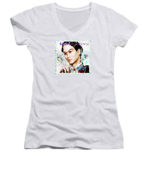 Women's V-Neck T-Shirt (Junior Cut) featuring the painting Saint Lorenzo Ruiz Of The Philippines by Suzanne Silvir
